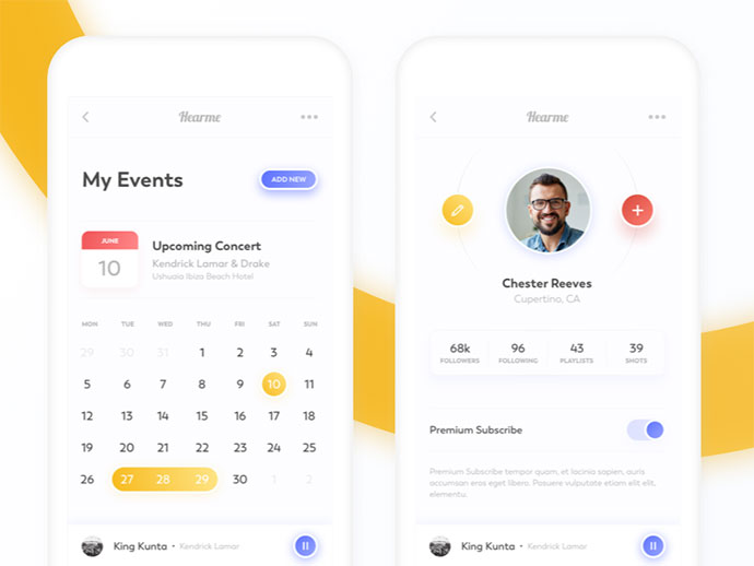 Profile and Calendar