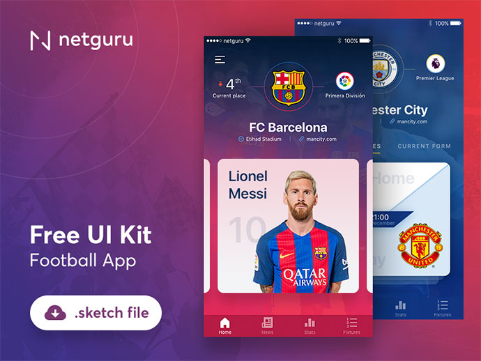 Freebie - Football App - Sketch