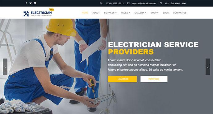 Electrician, Repair, Barber, Carpenter - Theme for Electrician, Barber, Carpenter, Repair Busines