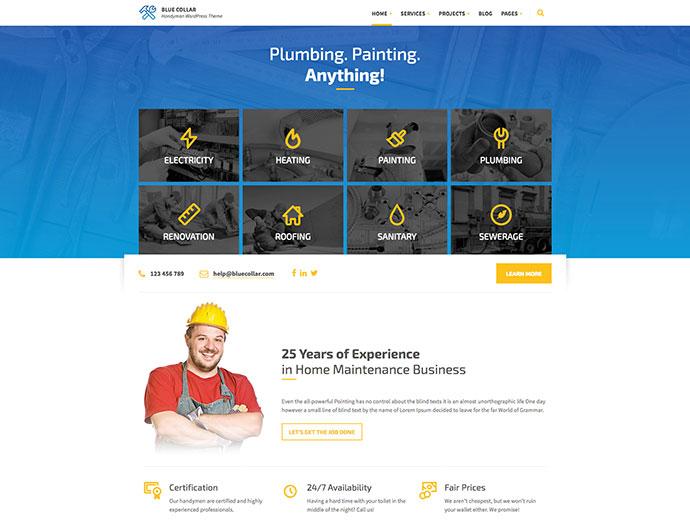 Blue Collar - Handyman WordPress Theme