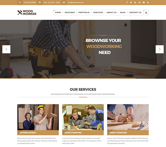 WoodWorker - Carpentry WordPress Theme