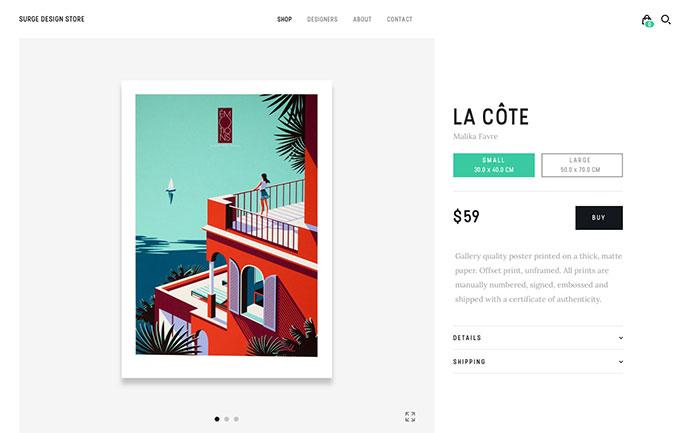 Surge Design Store - Detail Page