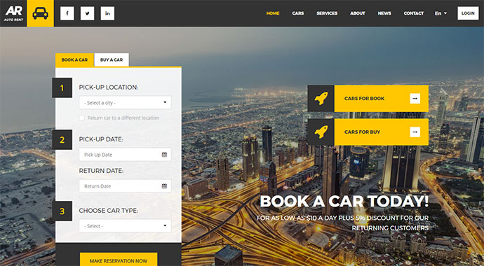 Auto Rent - Car Rental WordPress Theme