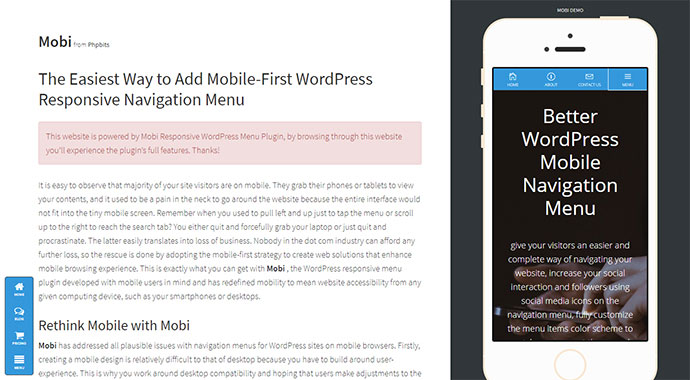 mobi | Mobile First WordPress Responsive Navigation Menu Plugin