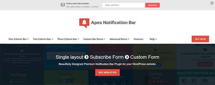 Apex Notification Bar - Responsive Notification Bar Plugin for WordPress