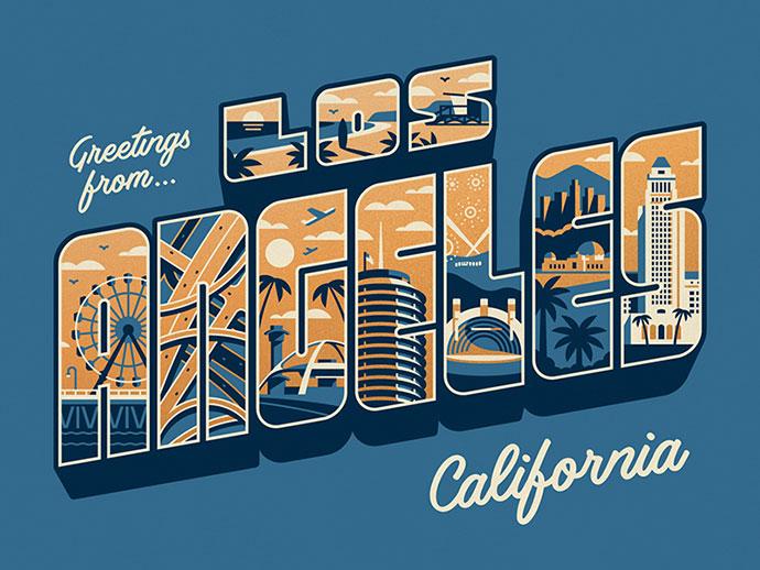 Greetings From Los Angeles Art Print