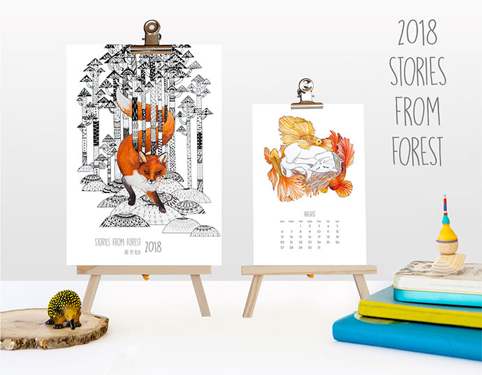 2018 wall & desk Calendar Stories from Forest