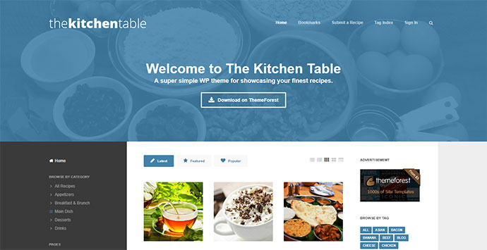 The Kitchen Table: Responsive Recipes WP Theme