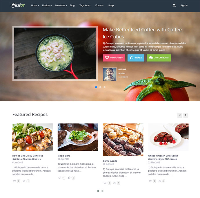 Gustos - Community - Driven Recipes, WordPress Theme