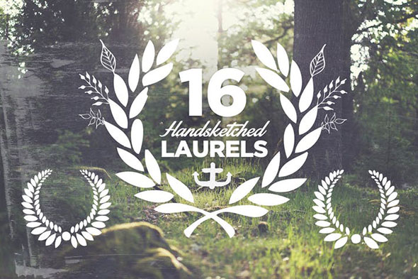 16 Handsketched Vector Laurels