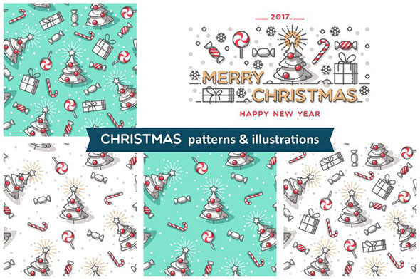 Christmas patterns & illustrations
