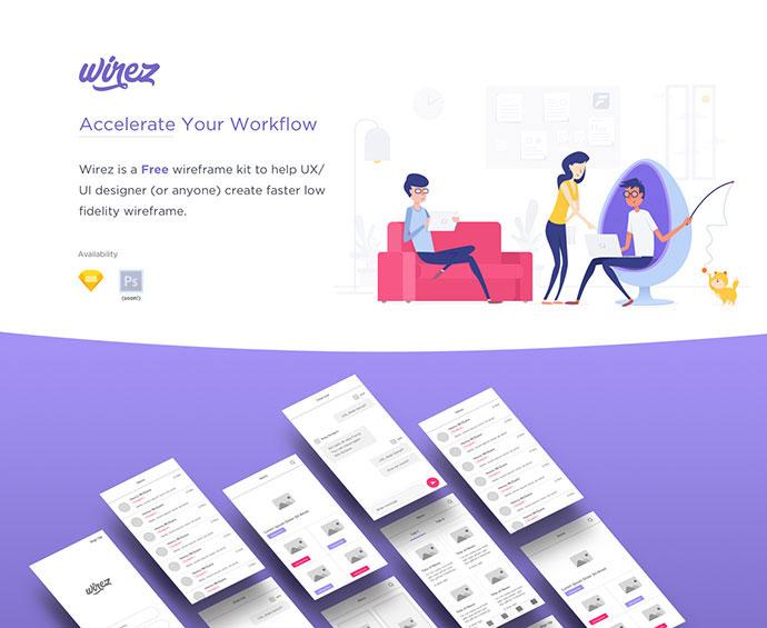 Wirez - Free App Wireframe Kit