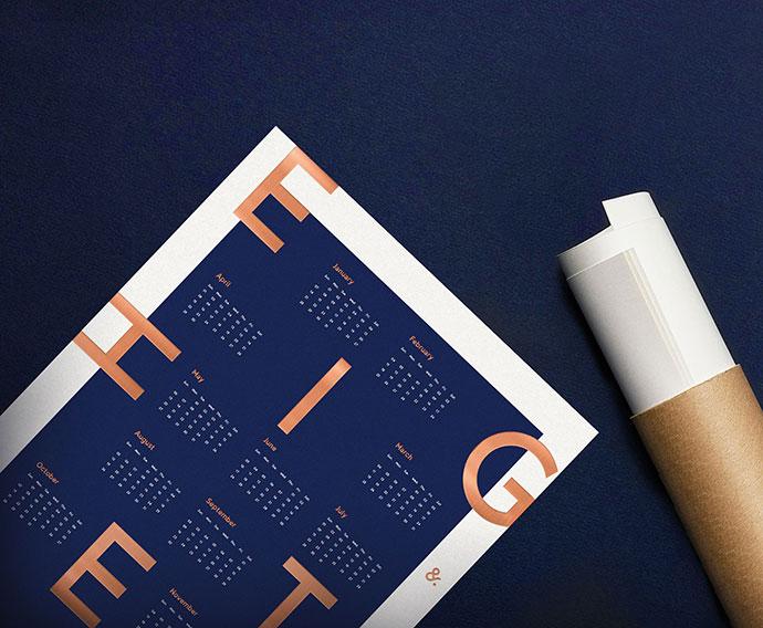 2018 Letterpress calendar poster
