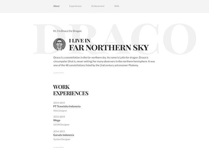 Draco Free PSD & HTML Resume Template