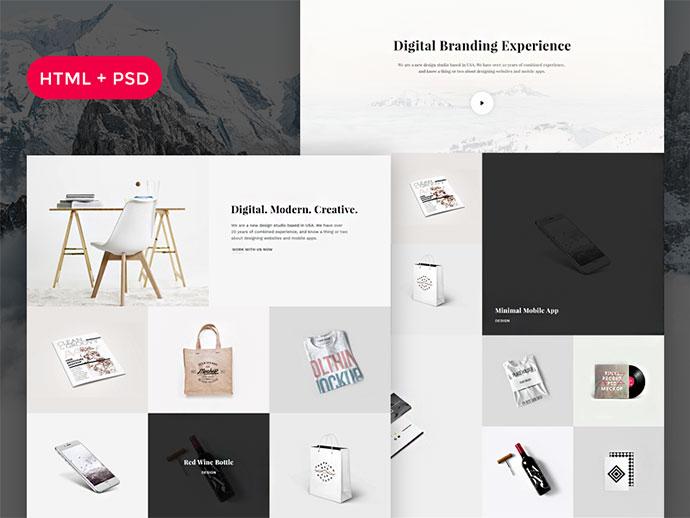 Snow Free HTML + PSD Portfolio