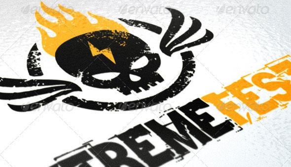 Burning Skull Extreme Event Grunge Logo