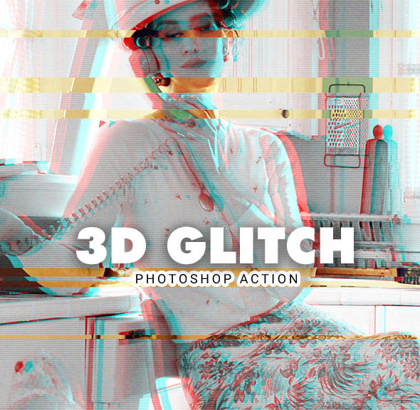 3D Glitch Photoshop Action