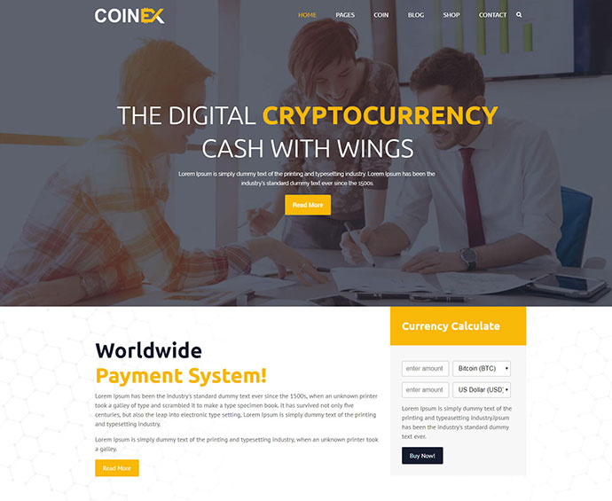 COINEX - Bitcoin And Crypto Currency HTML Template