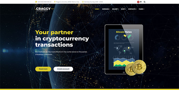 Craggy - Food, Services & Bitcoin Crypto Currency Multi-purpose WordPress Theme
