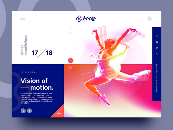 Ecole Art En Mouvement – Homepage design.