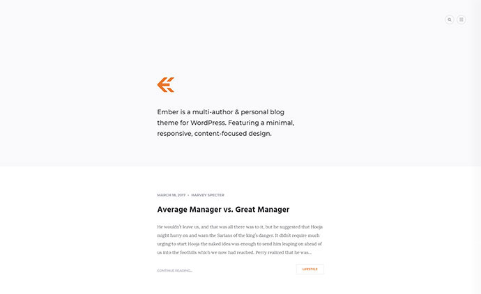 Ember - Responsive WordPress Blog Theme