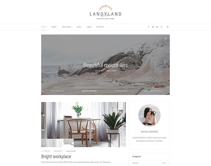 Landyland - Responsive Clean Blog & Magazine Theme