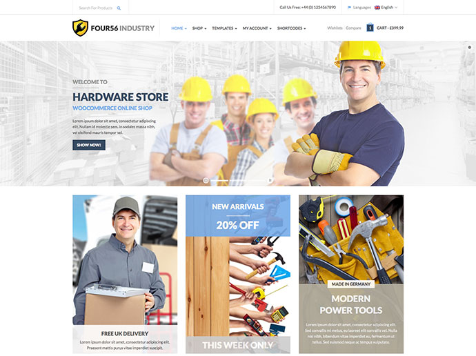 456 Industry - Repair Tools Shop & Construction / Building / Renovation WP Theme