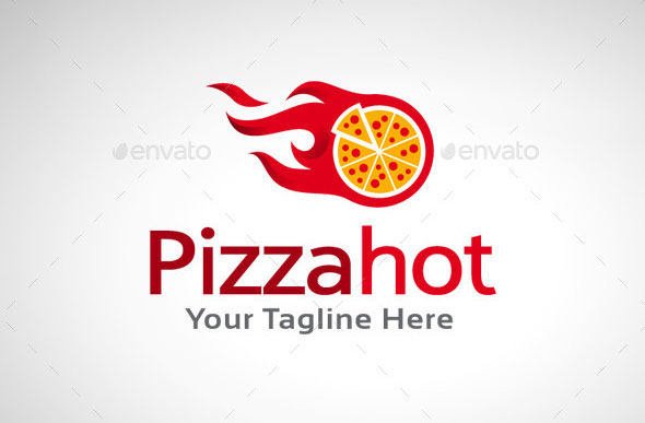 Pizza Hot Logo Template