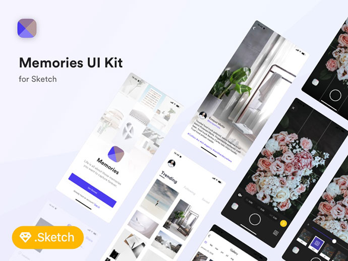 Memories FREE UI Kit for Sketch