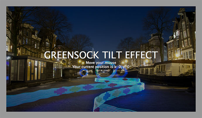 Mousemove / Accelerometer tilt effect   Greensock