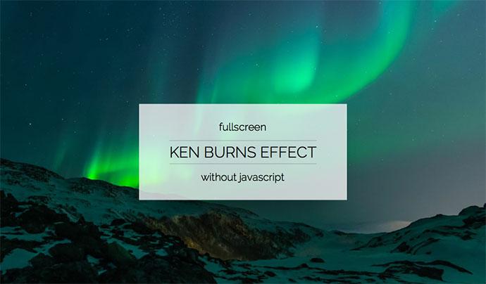 Ken Burns Effect fullscreen without js
