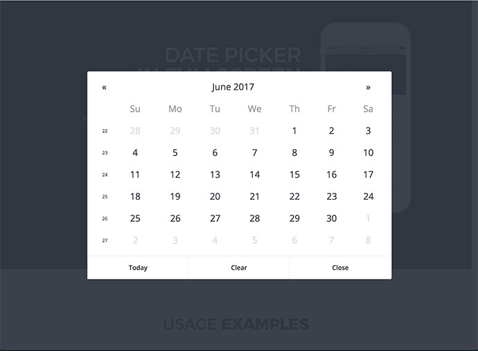 Date Picker In Fullscreen - jQuery Plugin