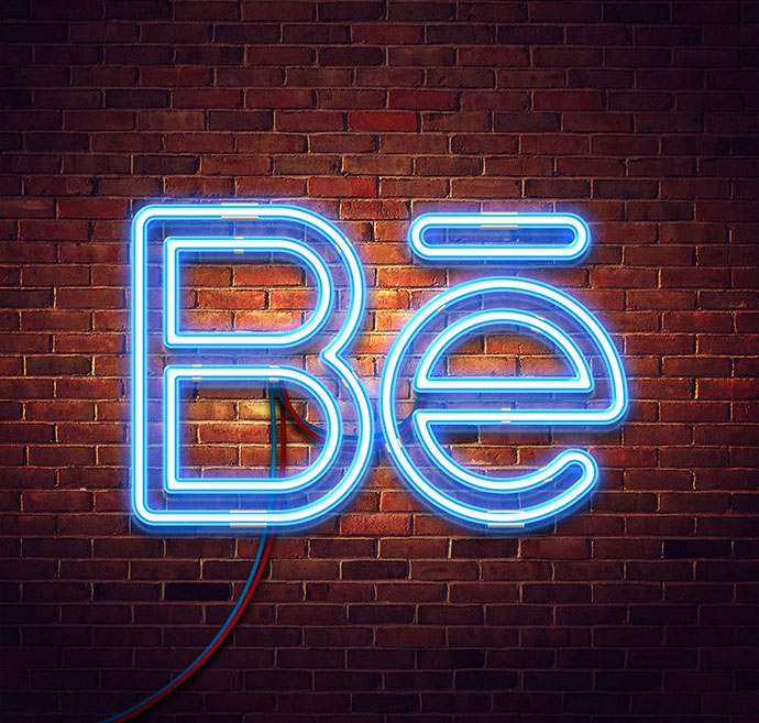 Free neon mock-up