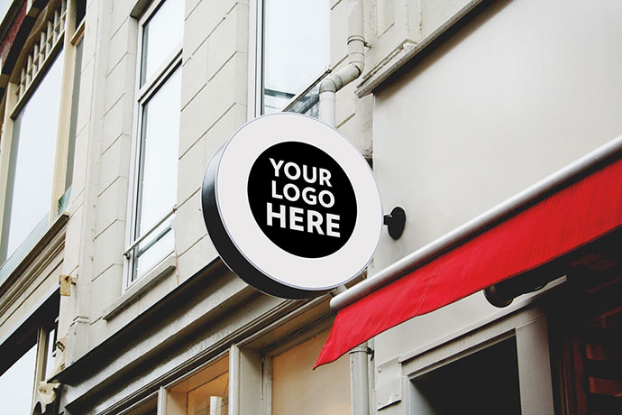 8 Free Shop, Restaurant, Cafe & Office Signs Mock-Up