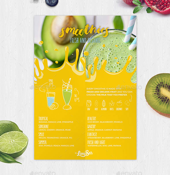 Smoothies Menu Template