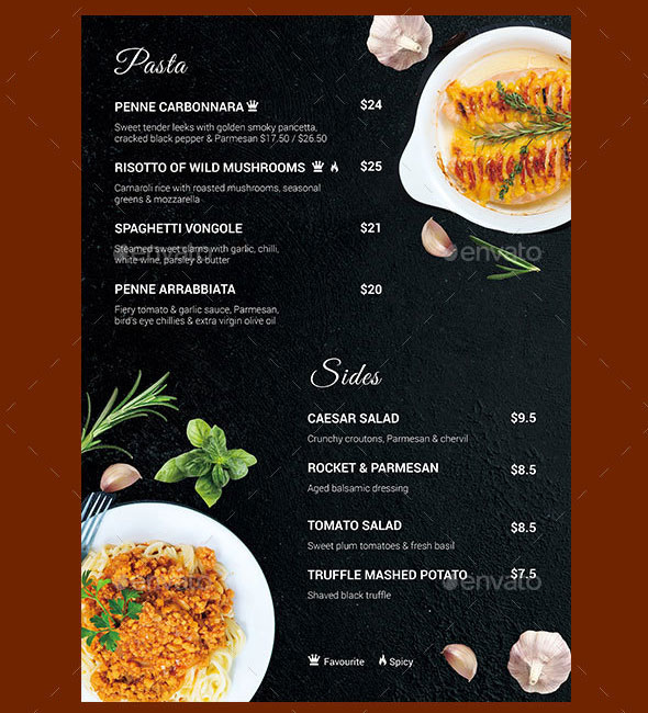 Rissotoy - Restaurant Menu in A4 size