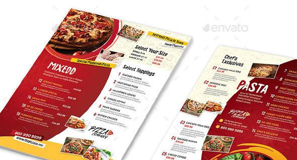 Pizza Restaurant Menu Flyers 2 – 4 Options