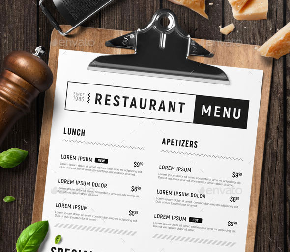 Minimal restaurant food menu