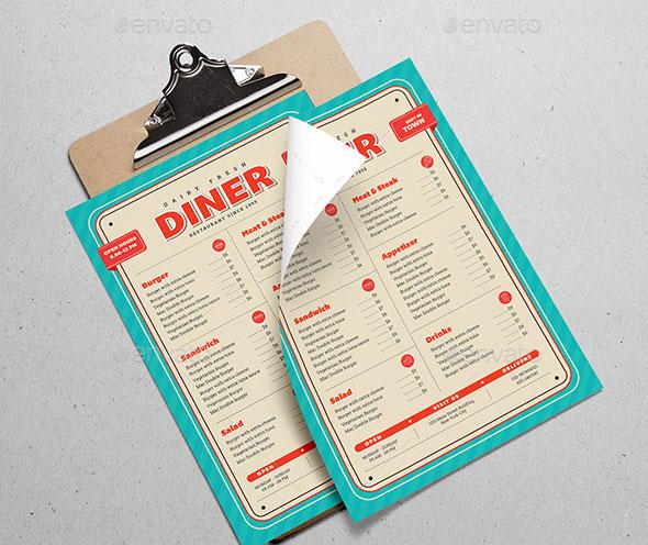 Retro Diner Menu