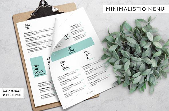Minimalistic Menu Templates