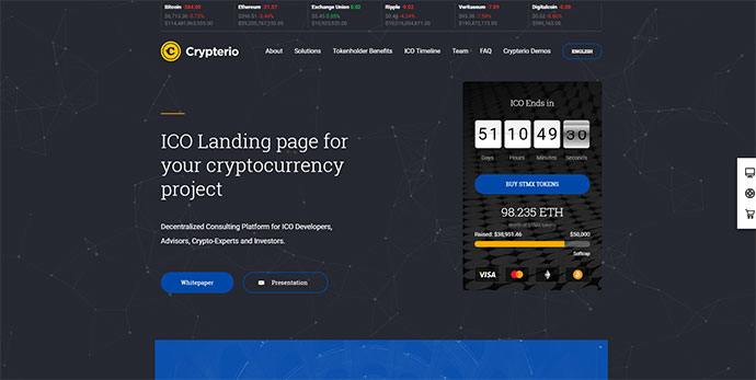 Crypterio - ICO and Cryptocurrency WordPress Theme