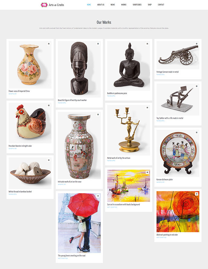 Crafts & Arts   Artist Portfolio Theme