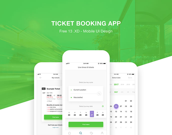 Ticket Booking App | Free .XD Download