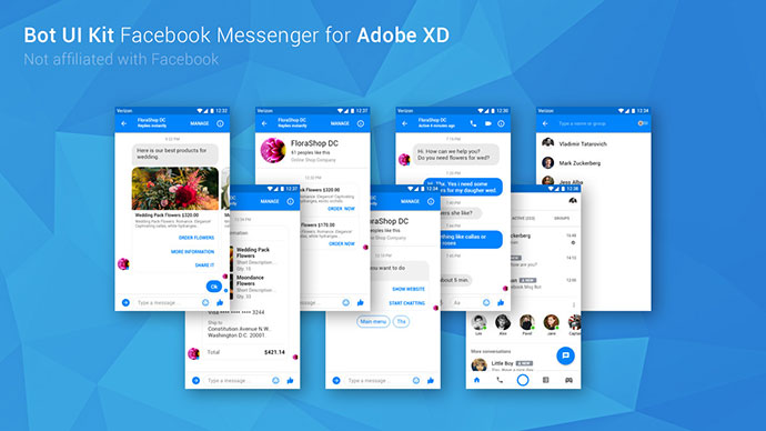 FREE Bot UI Kit Facebook Messenger (Adobe XD)
