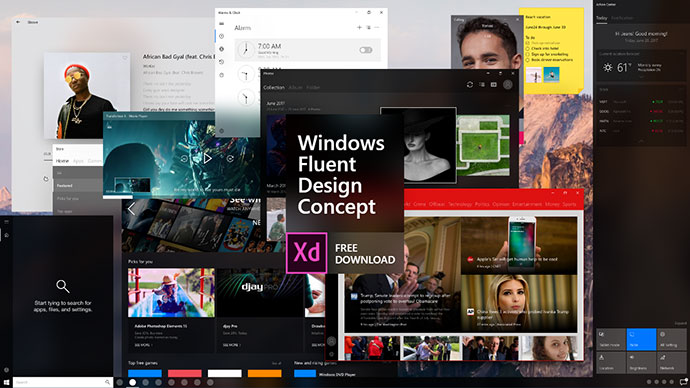 Windows Fluent Design Concept - Adobe XD Free Download