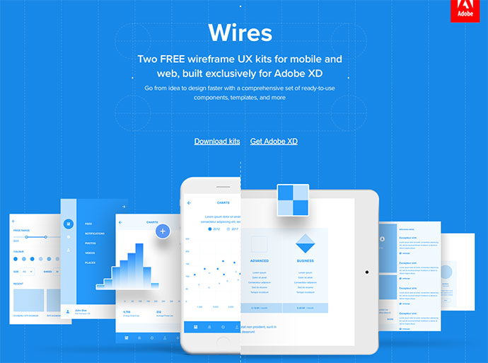 Wires, free wireframe kits for Adobe XD