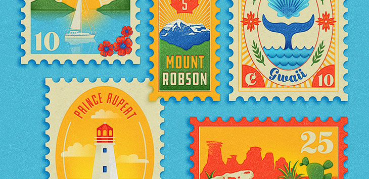 23 Beautiful Stamp Illustration Designs