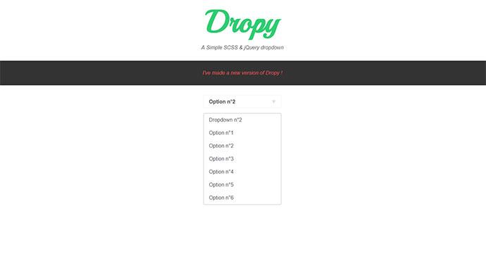Dropy | A Simple SCSS & jQuery dropdown