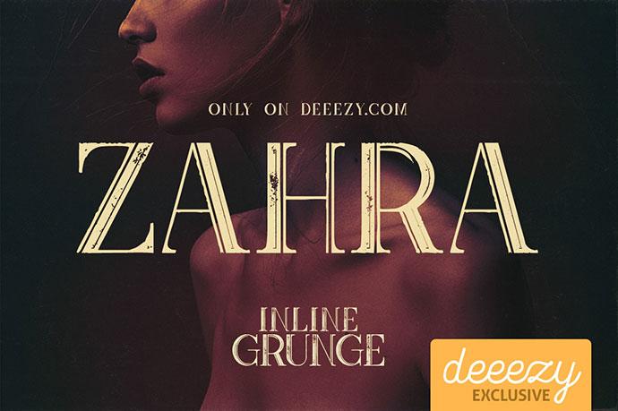 Zahra Inline Grunge FREE Font