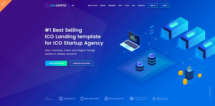 ICO Crypto – Bitcoin and Cryptocurrency Landing Page PSD Template